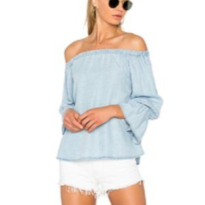SANCTUARY Peasant-Style Off the Shoulder Denim Top